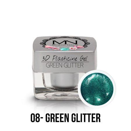 3D Gel green glitter